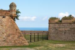 巴塞罗那城堡看法  免版税库存照片