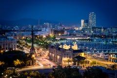 巴塞罗那夜视图 库存图片