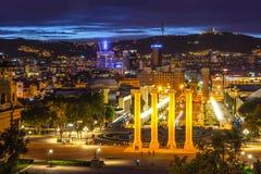巴塞罗那夜视图从Montjuic小山的 免版税库存图片