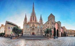 巴塞罗那大教堂全景  西班牙 哥特式的Barri 库存图片
