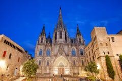 巴塞罗那大教堂在晚上 库存照片