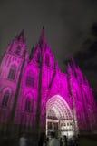 巴塞罗那大教堂在晚上 库存图片