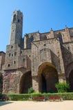 巴塞罗那大教堂如被看见从拉蒙Berenguer广场。 图库摄影