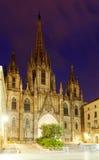 巴塞罗那大教堂晚上视图  库存图片