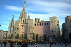 巴塞罗那大教堂正方形 免版税库存图片