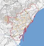巴塞罗那市地图  库存图片