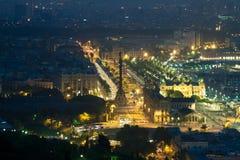 巴塞罗那晚上全景  库存照片