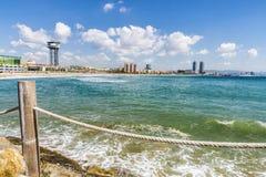 巴塞罗那海滩全景,西班牙 免版税图库摄影