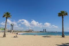 巴塞罗那海滩全景,西班牙 免版税库存照片