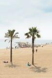 巴塞罗那海滩日光浴者在夏天,西班牙 免版税图库摄影