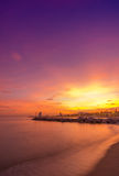 巴塞罗那海滩日落 免版税图库摄影