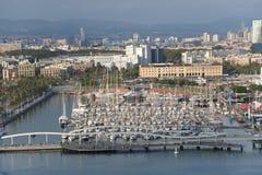 巴塞罗那港。 免版税库存照片