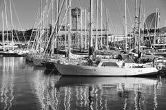 巴塞罗那游艇 库存照片