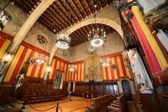 巴塞罗那的城镇厅,巴塞罗那,西班牙内部  免版税库存图片