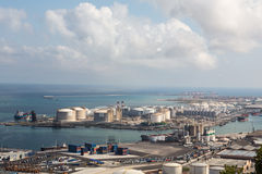 巴塞罗那的工业港口 库存图片