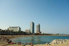 巴塞罗那的沿海岸区 库存照片