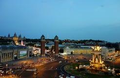 巴塞罗那看法在晚上 库存照片