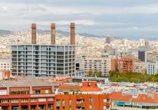 巴塞罗那看法从上面的 库存图片