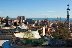 巴塞罗那看法从公园Guell的在冬天 免版税库存图片