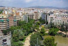 巴塞罗那看法从拉萨格拉达Familia,巴塞罗那,安东尼GaudÃ的 库存图片