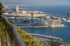 巴塞罗那空中都市风景  免版税库存图片