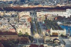 巴塞罗那空中都市风景  库存照片