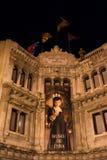 巴塞罗那蜡博物馆在夜之前,西班牙 免版税库存图片