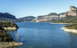 巴塞罗那西班牙全景摄影的湖Sau 库存图片