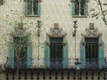 巴塞罗那西班牙的大厦关闭 免版税库存图片
