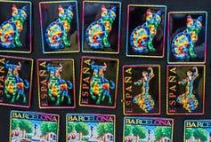 巴塞罗那西班牙 在Gaudi样式的纪念品磁铁 库存照片