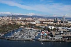 巴塞罗那西班牙 2016年1月02日-旧港口的看法 图库摄影
