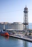 巴塞罗那西班牙 沿海岸区,巡航海口 塔teleferic 免版税库存照片