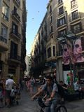 巴塞罗那迷离行动人快门慢速街道 图库摄影