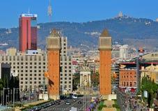 巴塞罗那都市风景。西班牙正方形 库存照片