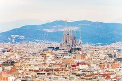 巴塞罗那鸟瞰图城市 免版税图库摄影