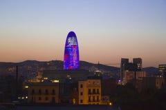 巴塞罗那鸟瞰图日落的 免版税库存照片