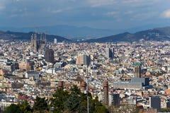 巴塞罗那,城市视图。 库存照片