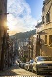 巴塞罗那,街道在公园Guell上升 库存图片