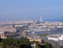 巴塞罗那,西班牙全景  库存图片