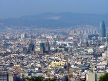 巴塞罗那,西班牙全景  库存照片