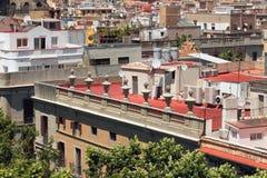巴塞罗那,西班牙屋顶  免版税库存照片