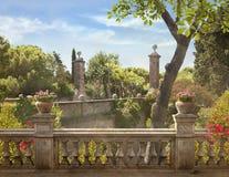巴塞罗那,西班牙村庄 中世纪的横向 免版税图库摄影