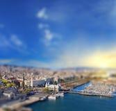 巴塞罗那,西班牙空中(鸟眼睛)视图  图库摄影