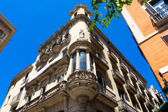 巴塞罗那,西班牙,欧洲-典型大厦风景视图 库存照片