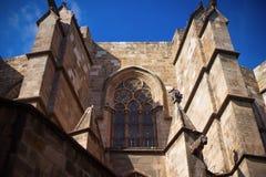 巴塞罗那,西班牙, Barri Gotic区-一个哥特式大厦的门面 库存图片