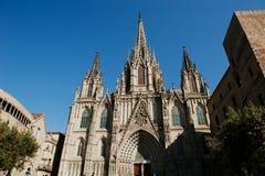 巴塞罗那,西班牙-圣洁十字架和圣徒尤拉莉亚的大教堂 免版税库存图片