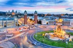 巴塞罗那,西班牙黄昏视图  plaza de西班牙 免版税库存照片