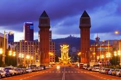巴塞罗那,西班牙黄昏niew  免版税图库摄影