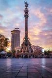 巴塞罗那,西班牙- 2017年1月10日:哥伦布的纪念碑 免版税图库摄影