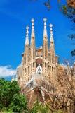 巴塞罗那,西班牙- 2016年4月18日:拉萨格拉达Familia大教堂  库存照片